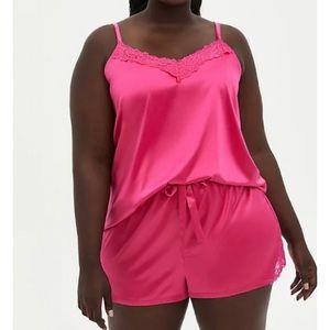 🆕 Pink Satin Lace Trim Sleep Top Short Set 3X 22